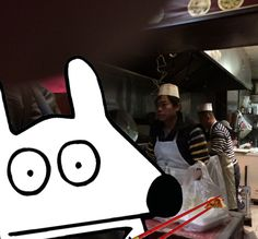 Stinky eats dumplings in Chinatown, NYC.