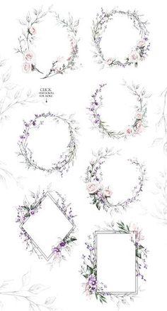 Floral Design bundle by Lisima on Creative Market This airy cute . Floral Design bundle by Lisima on Creative Market This airy cute set include many in - Design Floral, Motif Floral, Design Set, Thestral Tattoo, Wreath Drawing, Border Design, Flower Frame, Flower Bouquet Wedding, Graphic Design Inspiration