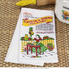 Flour Tortilla Recipe Cotton Tea Towel   Kitchen Towels     RetroPlanet.com #kitchen #retro #kitchentowel  Perfect for taco night! My family has Taco Tuesday every week. With this kitchen towel we don't even need the recipe book!