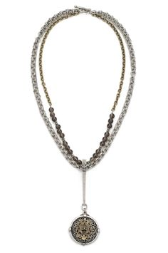 """22"""" double strand of brass-clad single cable chain and smoky quartz with pyrite accents and sterling silver-clad double cable chain with long bail and Avignon smooth bezel medallion with brass-clad FDL fob by French Kande"""