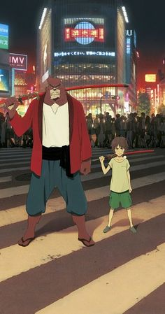 """The Boy and the Beast"" (Japanese: バケモノの子 Hepburn: Bakemono no Ko) is a 2015 Japanese animated action adventure fantasy film written and directed by Mamoru Hosoda. It was released on July It won Animation of the Year at the Japan. Mamoru Oshii, Mamoru Hosoda, Film Manga, Film Anime, Manga Art, Beast Film, The Beast Movie, Dark Knight Rises Catwoman, Batman The Dark Knight"