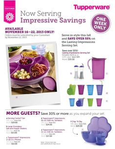 Huge Savings on Tupperware through November 22nd! Great Buys! www.StorageSecrets.com