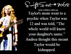 Poor Andrea ❤. Now that is a genuine psychic!!! It's so amazing that Taylor really is the most famous singer/songwriter in the entire world. To think, Taylor once said in one of her songs (Superstar)  I'm no one special just another wide eyed girl.... and now millions of Swifties are singing this about her. I am so proud of her ❤. Taylor is legendary-J. Swan