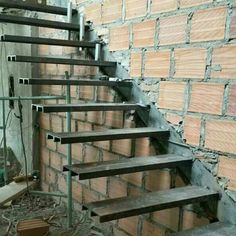 ideas for stairs steel railing house Iron Stair Railing, Wrought Iron Stairs, Steel Railing, Tile Stairs, Flooring For Stairs, House Stairs, Basement Stairs, Deck Stair Lights, Cantilever Stairs