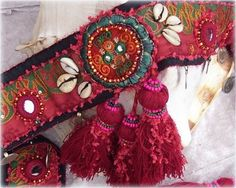 Tribal Belly dance Belt with Red Tassels
