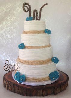 Rustic Ercream Wedding Cake With Teal Burlap Rosettes Rusticweddingcake Rusticcake Rusticercream