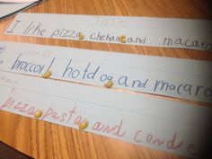 Using macaroni noodles to teach comma placement - how fun!