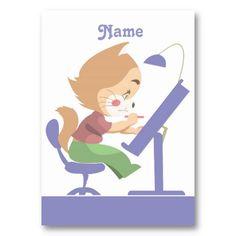 Funny Cat Designer Business Cards.  Funny Cat Designer, cute and cartoon style. Soft Colors. Art by José Ricardo