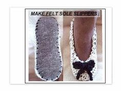 Crochet Slippers on Purchased felt insoles CROCHET by Hectanooga Free Crochet, Crochet Baby, Knit Crochet, Crochet Pouch, Knitting Patterns, Sewing Patterns, Crochet Patterns, Crochet Headband Pattern, Knitted Slippers