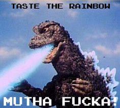 Godzilla funny #TasteTheRainbow #Godzilla #Gojira http://www.cafepress.com/infinitefools