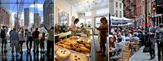 """Watching the progress at the World Trade Center site from the World Financial Center; at Duane Park Patisserie; the scene along Stone Street in the financial district 