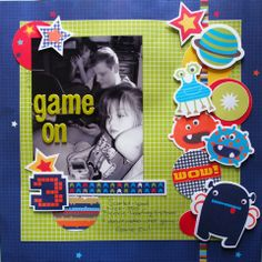 Game On page created with Kaisercraft Blast Off collection by Teena Hopkins for My Scrappin' Shop. Scrapbook Sketches, Scrapbooking Layouts, Scrapbook Pages, Project Life, Family Photos, Bunny, Collections, Games, Create