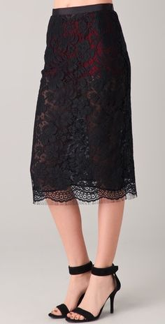 Markus Lupfer                                                                                                  French Lace Midi Skirt