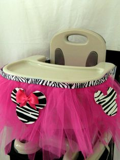 minnie mouse center pieces with tutu | Highchair Tutu Decoration FREE SHIPPING. $19.99, via Etsy.