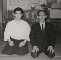 Kensho Furuya and Nidai Doshu Kisshomaru Ueshiba in 1969.