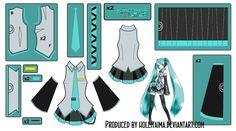 Hatsune Miku Main outfit Cosplay Design Draft by Hollitaima.deviantart.com on @deviantART Pattern