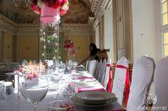 6. Pink Wedding,Centerpieces / Różowe wesele,Dekoracja stołu,Anioły Przyjęć