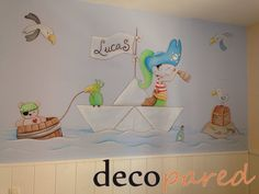 Mural infantil pintado sobre pared Kids Room Murals, Murals For Kids, Wall Murals, Art For Kids, Wall Art, School Painting, Painting For Kids, Mural Painting, Baby Room Decor