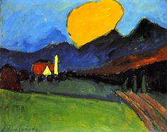 Murnau - Landscape, Orange Cloud by Alexej Von Jawlensky handmade oil painting reproduction for sale,Choose from multiple sizes and frames at discount price. Wassily Kandinsky, Landscape Art, Landscape Paintings, Landscapes, Franz Marc, Expressionist Artists, Blue Rider, Arte Popular, Oil Painting Reproductions