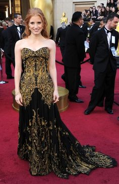 Jessica Chastain's McQueen reminds me of a less poufy version of the Marchesa gown Blair Waldorf wore to the Constance-St. Jude's prom. Pretty, though.