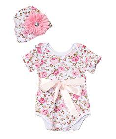 Wholesale - Pink Floral Onsie Bodysuit & Beanie