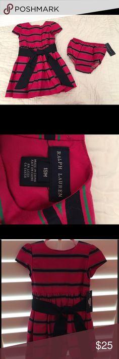 NWT+RALPH LAUREN+ TODDLER GIRL DRESS 18M Fuschia dress with navy and green stripe dress with matching diaper cover. Navy grosgrain ribbon tie around the waist Ralph Lauren Dresses Formal