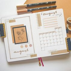 August cover page + Monthly spread! - bulletjournal Bullet Journal Paper, Creating A Bullet Journal, Bullet Journal Monthly Spread, Bullet Journal Cover Ideas, Bullet Journal Lettering Ideas, Bullet Journal Notebook, Bullet Journal Aesthetic, Bullet Journal School, Bullet Journal Inspo