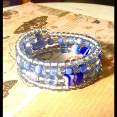 Handmade blue glass wrap bracelet NWOT Handmade blue glass and Czech glass wrap bracelet. Sayre Jewelry Bracelets