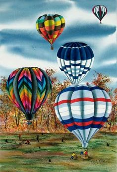 Hot Air Balloons #4 ~ Original Watercolor Paintings by Kathy Boltz Phillips