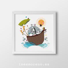 Animalitos navegantes. Láminas de edición limitada, desde 17€ / Limited edition prints from 17€. #laminas #edicionlimitada #arte #ilustracion #decoracion #limitededition #prints #illustration #art #kidsroom #deco #childish