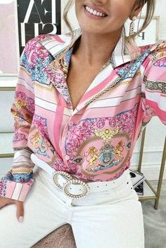 Oh Hello Clothing, Printed Blouse, Hot Pink, Satin, Blazer, Sleeves, Prints, Pattern, Jackets