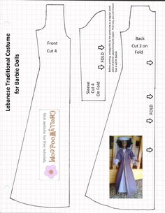 Image of sewing pattern for making a Lebanese traditional dress that fits Barbie-sized fashion dolls. Inlaid within the dress pattern is a photograph of a Barbie doll wearing the dress this pattern ma This week we've started sewing a Middle-Eastern outfit Sewing Barbie Clothes, Barbie Sewing Patterns, Doll Patterns Free, Doll Dress Patterns, Sewing Dolls, Pattern Sewing, Free Pattern, Costume Patterns, Pattern Dress