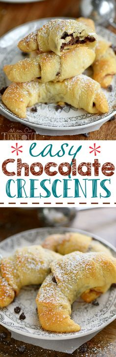 Easy Chocolate Crescents are perfect for breakfast, brunch OR dessert! With just four ingredients, they're super easy to make and absolutely delicious! You'll only need to try them once before you find yourself making them again and again!