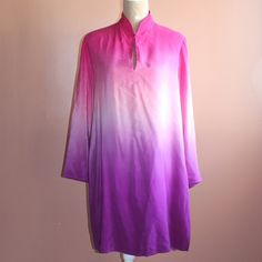 Pink/purple ombré tunic blouse A chic long ombré tunic in a bright pink and purple colors. Super girly and fun, the neckline has a single button that you could wear as a vneck or keyhole (as shown). 100% silk and very light weight. Could be worn as a dress, but there are slits on the sides that come up rather high.   *pet free smoke free home *bundle discounts *usually ships next day *no reserves/swaps Via Seta Tops Tunics