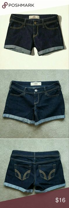 NEW! Hollister Denim Midi Shorts BRAND NEW! PERFECT CONDITION! Never been worn or washed. Dark denim Hollister Midi Shorts - Size 1 - Waist 25. SUPER COMFY fit and material. NO TRADES. ****Please Note: I'm an impulse shopper and took the tags off when I bought them and ended up never even wearing them! **** Hollister Shorts