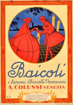 Baicoli Venice Italy Biscuit, 1949 - original vintage poster listed on AntikBar.co.uk #TwitterTeaParty