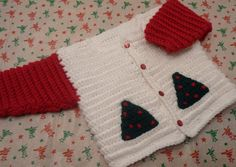 Baby boy christmas sweater jacket red and white by QUINNYSCROCHET, $35.00