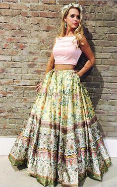 50924 Floral Printed 2 Piece Satin Senior 2018 Prom Dress Pockets [Lewande 50924] - $178.00 : LewandeDress.com