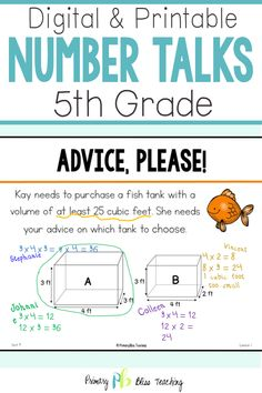 Your fifth grade students will absolutely LOVE these fifth grade common core aligned number talk activities. They are super engaging and will have your students talking about math like never before. Grab your set today! First Grade Lessons, Teaching First Grade, Math Lessons, Math Fact Practice, Math Talk, Math Fact Fluency, Number Talks, Fifth Grade Math, Math Lesson Plans