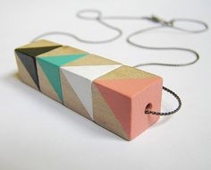 Hand-painted Wood Geometric Necklace CIRCUS · Geometric design · Triangles · Cubes · Handmade jewelry