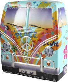 Campervan Gift - Hippy Campervan Biscuit Tin with Biscuits, £11.95 (http://www.campervangift.co.uk/hippy-campervan-biscuit-tin-with-biscuits/) #kombilove