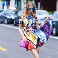 New arrival 2015 autumn fashion cute face Matisse art fashion women girls dress colorful short sleeve dresses