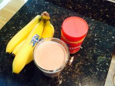 Peanut butter, banana, and Nutella breakfast smoothie.