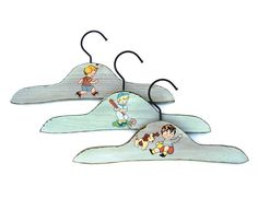 Vintage wooden baby clothes hangers 3 Blue boys by OceansideCastle, $46.99