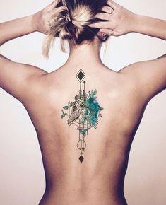 Watercolor Back Tattoo Ideas for Women at MyBodiArt.com - Arrow Bird Spine Tats #AwesomeTattoos #TattooIdeasWatercolor