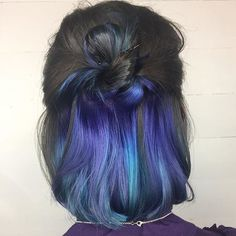 Hair Color 2018, Hair Color Purple, Hair Dye Colors, Hair 2018, Blue Ombre, Navy Blue, Teal Hair, Pastel Purple, Peekaboo Hair Colors