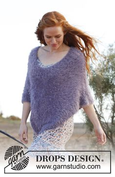 Knitted DROPS poncho in Symphony. Size: S - XXXL. ~ DROPS Design free
