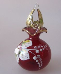 Ornate Vintage Czech Glass Miniature Perfume Bottle