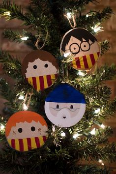 Merry Christmas, wizards and muggles alike! These wood slice ornaments are hand-painted to look like the beloved characters from the magical world of Harry Potter: Harry Potter, Ron Weasley, Hermione Granger, and Albus Dumbledore.  These are also available as individuals.  ***Due to each ornament being hand-painted and each wood slab being different, each ornament will vary just slightly from the pictures seen here.***