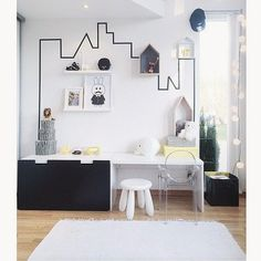 Black & White kids room - Cameretta bianco e nero Ghost chair Kartell ikea stuva washi tape Home Decor Bedroom, Kids Bedroom, Kids Rooms, Room Kids, Bedroom Ideas, Nursery Ideas, Ikea Stuva, Deco Kids, Diy Bed Frame